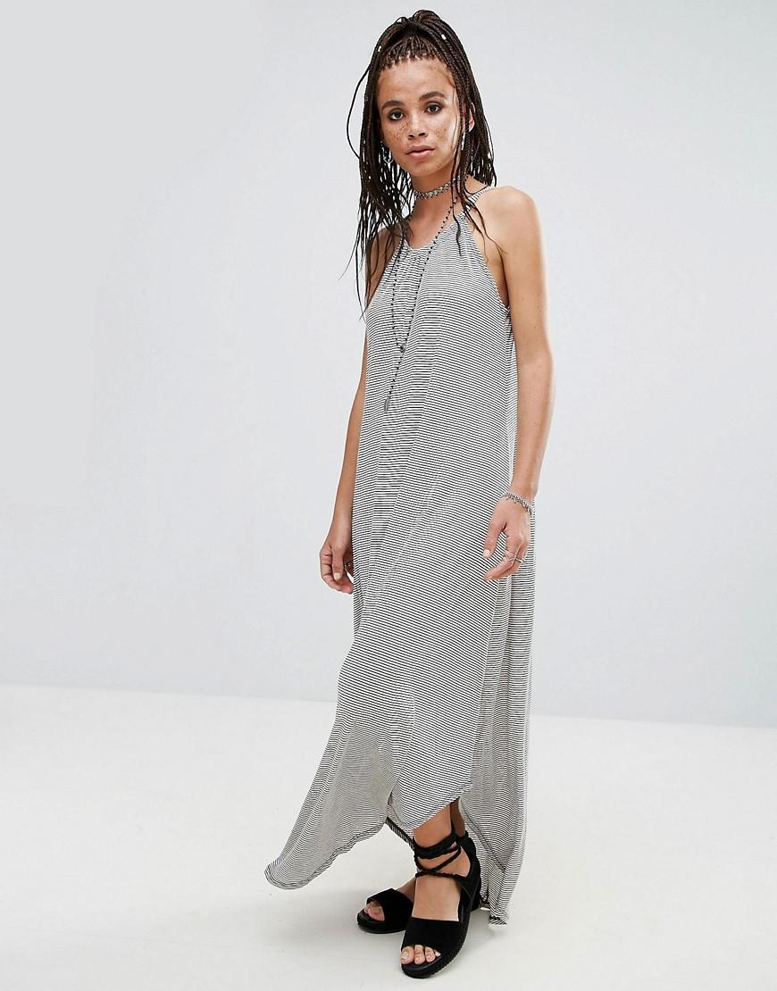 Nytt jersey striped waterfall maxi dress in grey lyst for Waterfall design dress