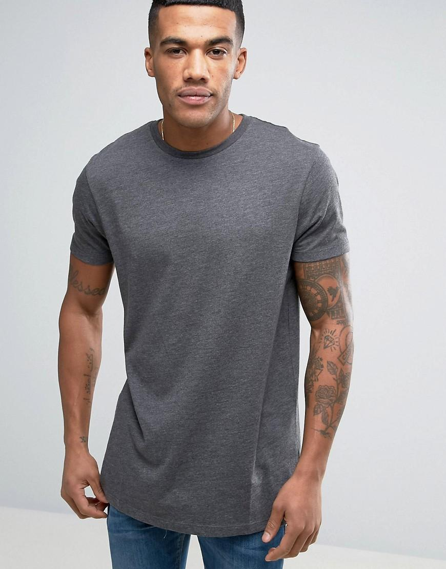 asos longline t shirt in charcoal marl in gray for men lyst. Black Bedroom Furniture Sets. Home Design Ideas