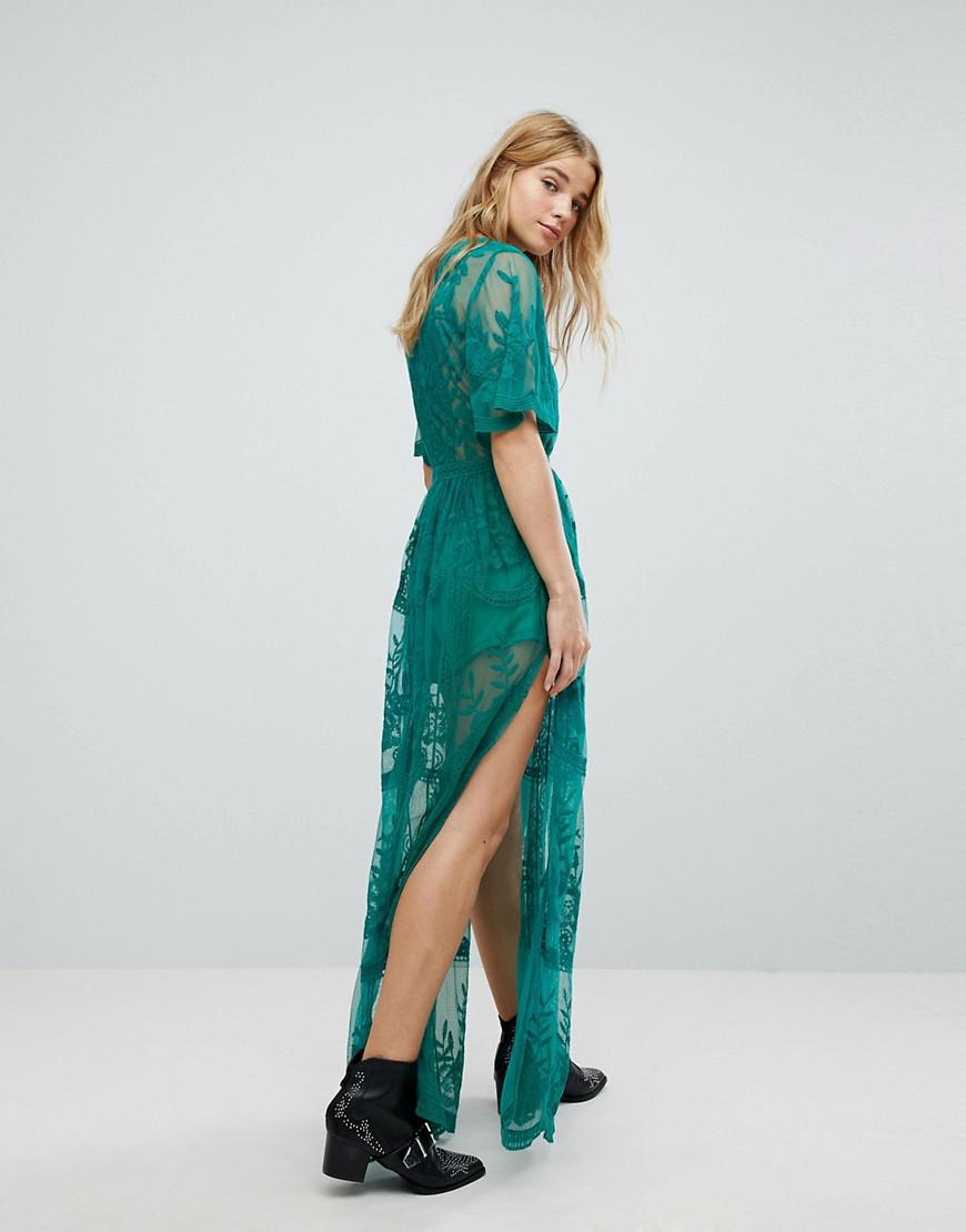 Honey Punch Maxi Dress In Premium Lace With Kimono Sleeves