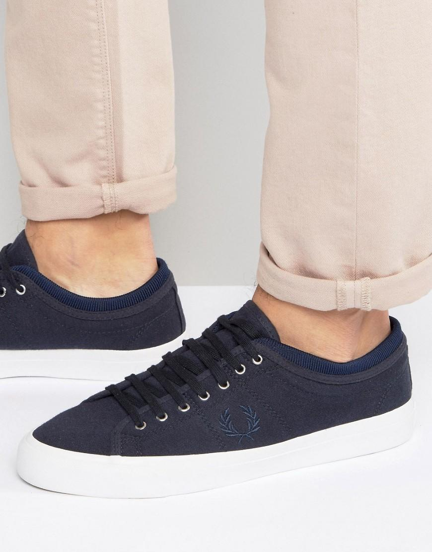 Fred perry Kendrick Tipped Cuff Jersey Sneakers in Blue ...
