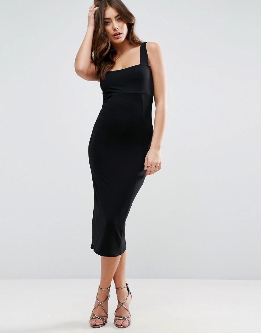 Asos Thick Strap Square Neck Midi Bodycon Dress In Black
