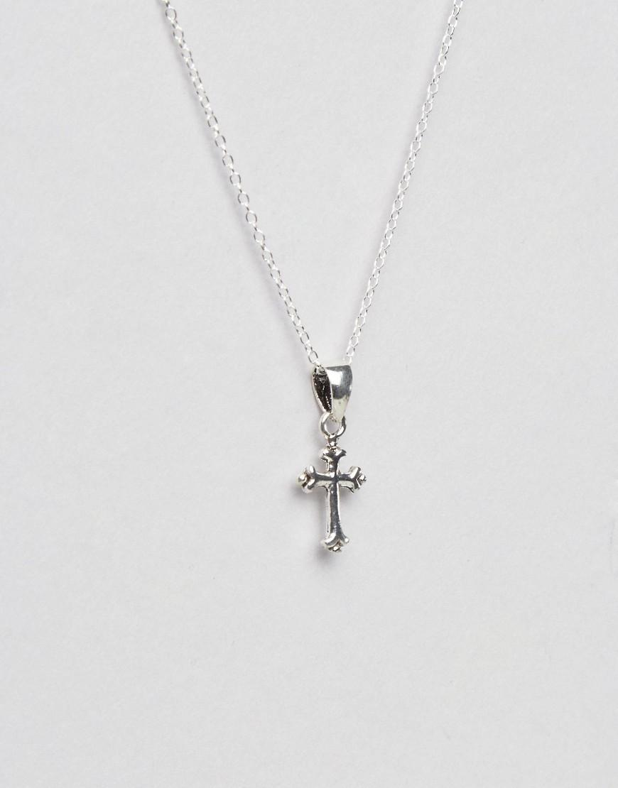 Kingsley Ryan Sterling Silver Cross Pendant Necklace in Metallic