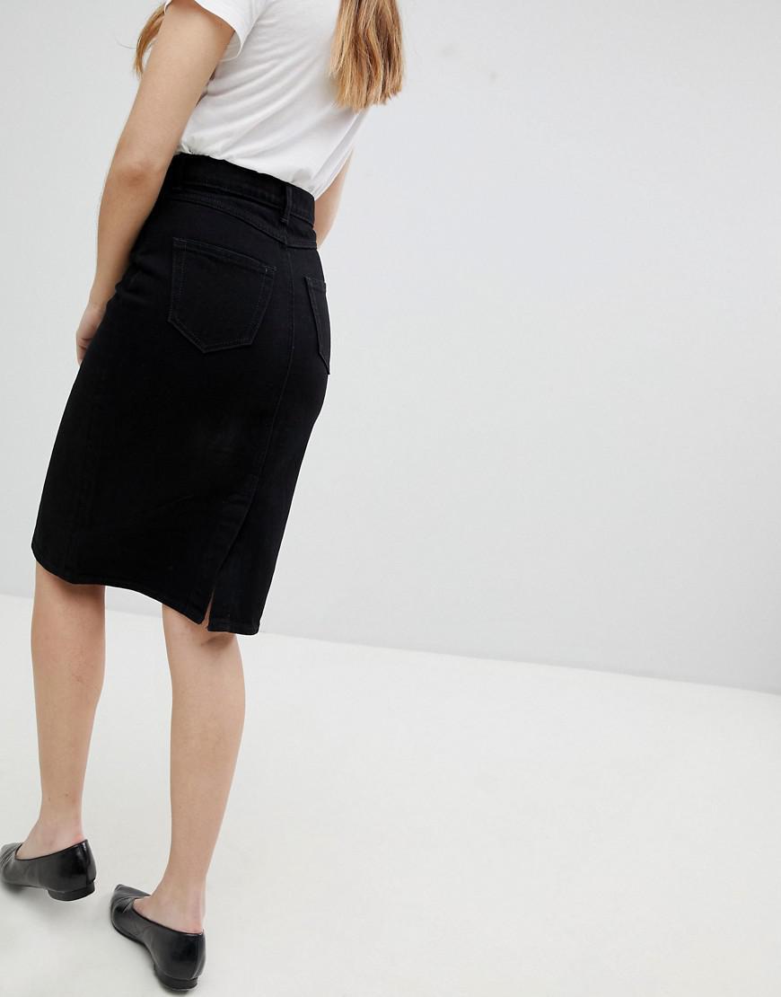 a07c00587b1687 Jupe mi-longue en jean Monki en coloris Black