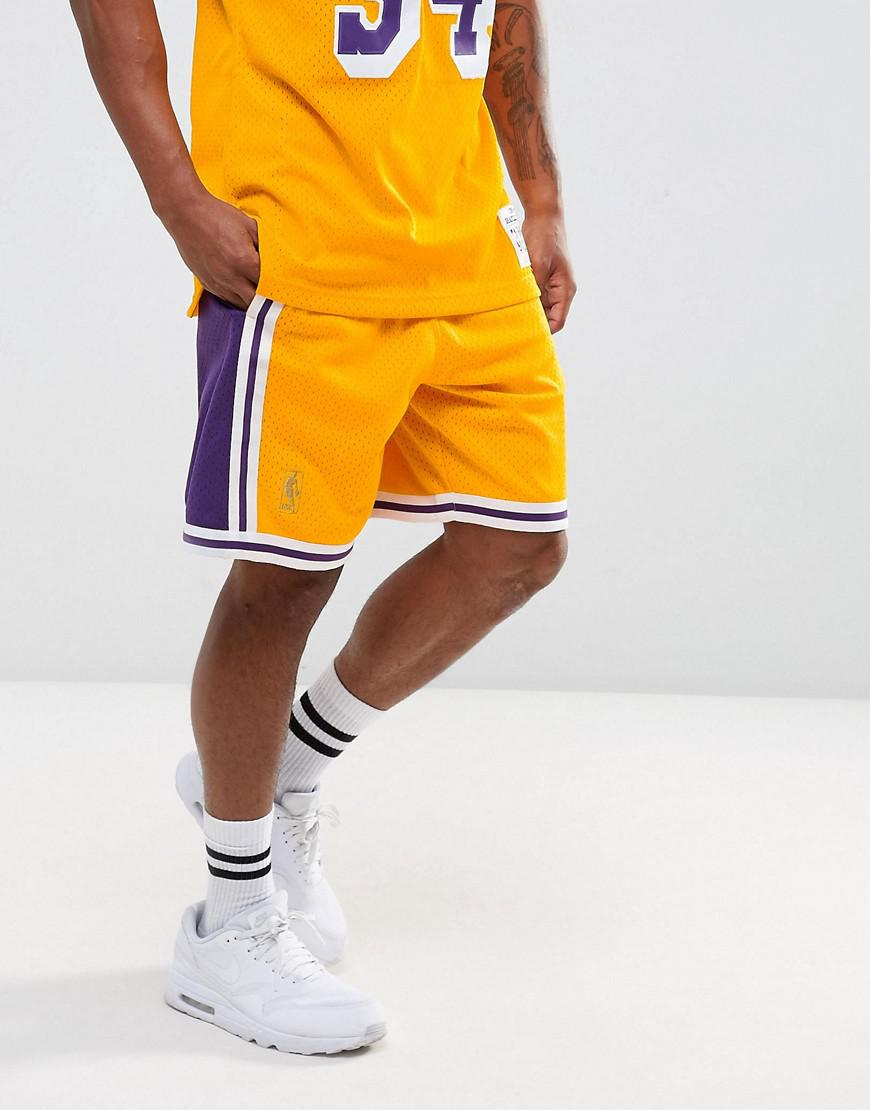 d4a0e215df06 Mitchell   Ness Nba L.a. Lakers Swingman Shorts in Yellow for Men - Lyst