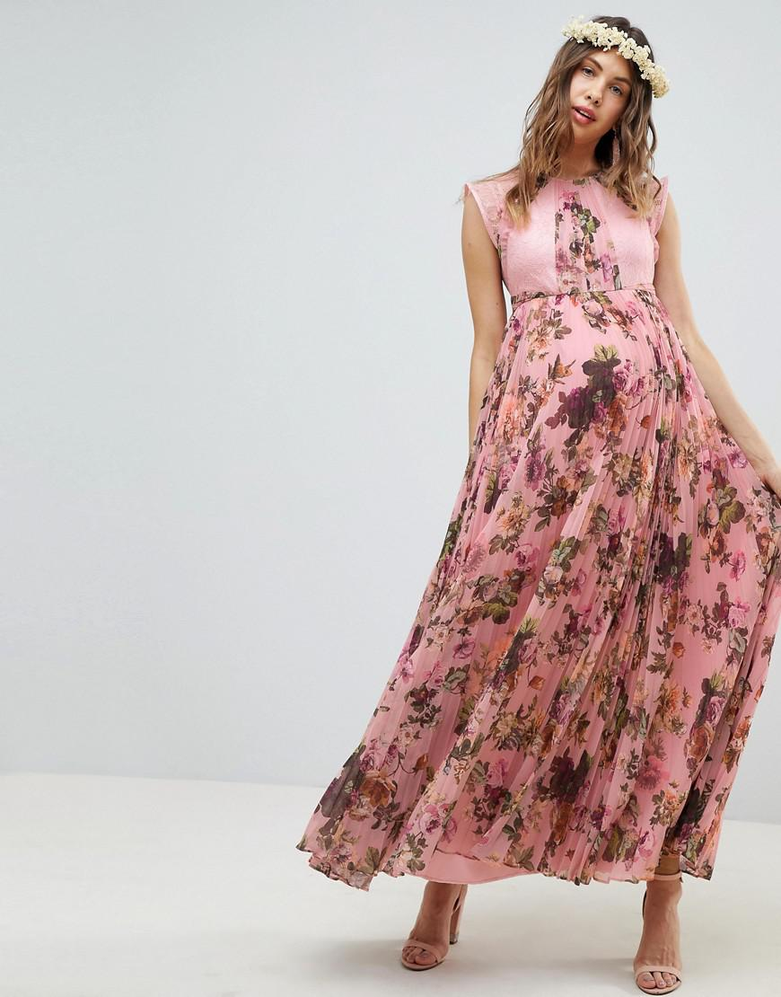44f6a4c1e95b2 ASOS. Women's Asos Design Maternity Pleated Short Sleeve Maxi Dress In Pink Floral  Print