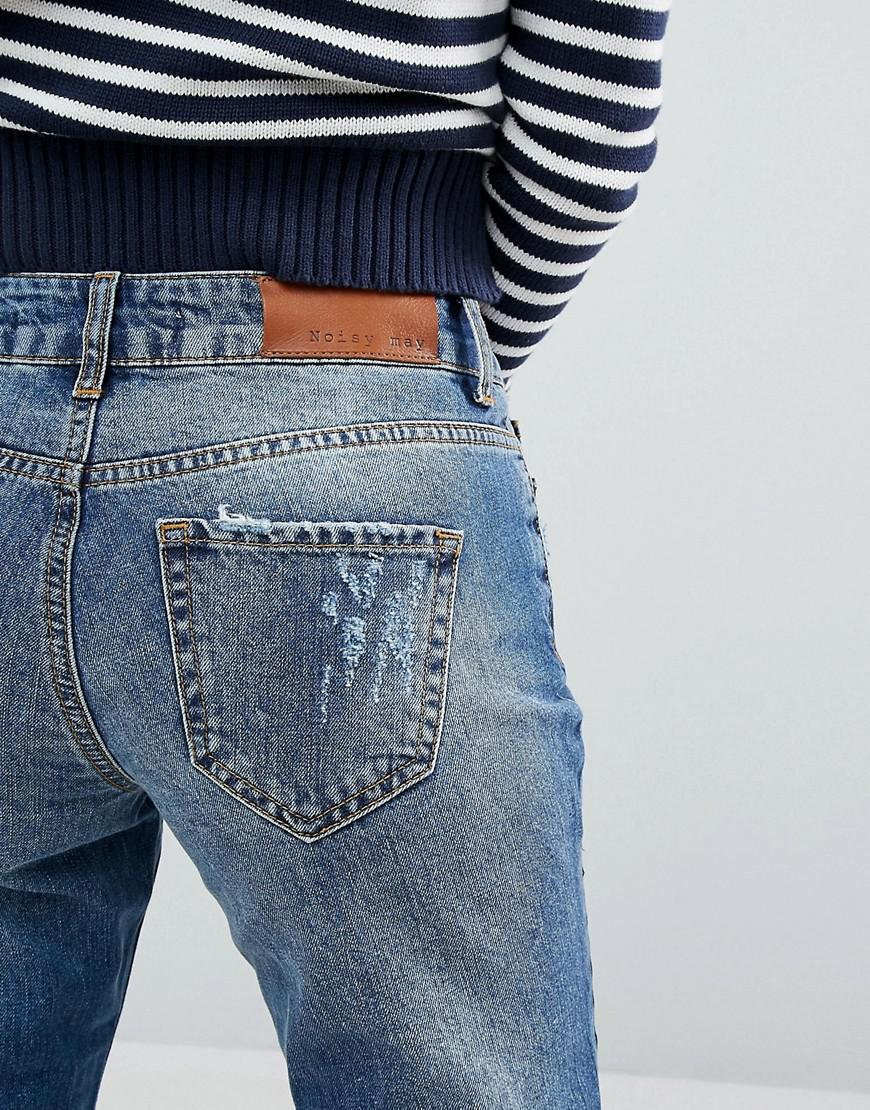 Noisy May Denim Girlfriend Patchwork Jeans in Blue