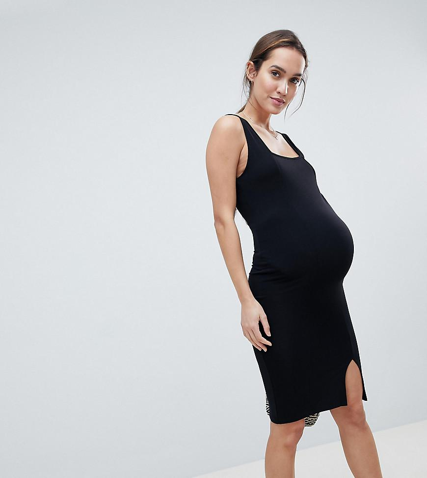 9a550e73311e7 ASOS. Women's Black Asos Design Maternity Square Neck Midi Bodycon Dress