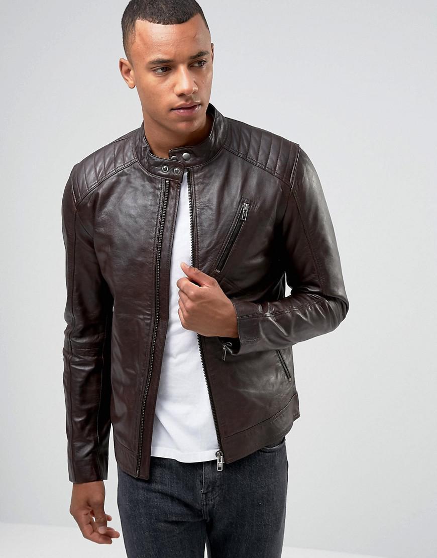 c79d12364 Barney's Originals Brown Real Leather Quilted Biker Jacket for men