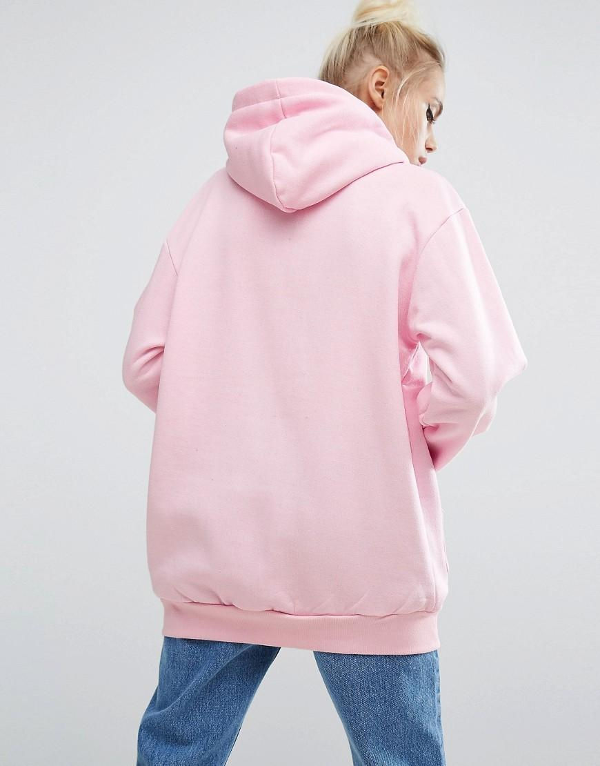 Lyst - Adolescent Clothing Oversized Hoodie With Rose Embroidery in Pink