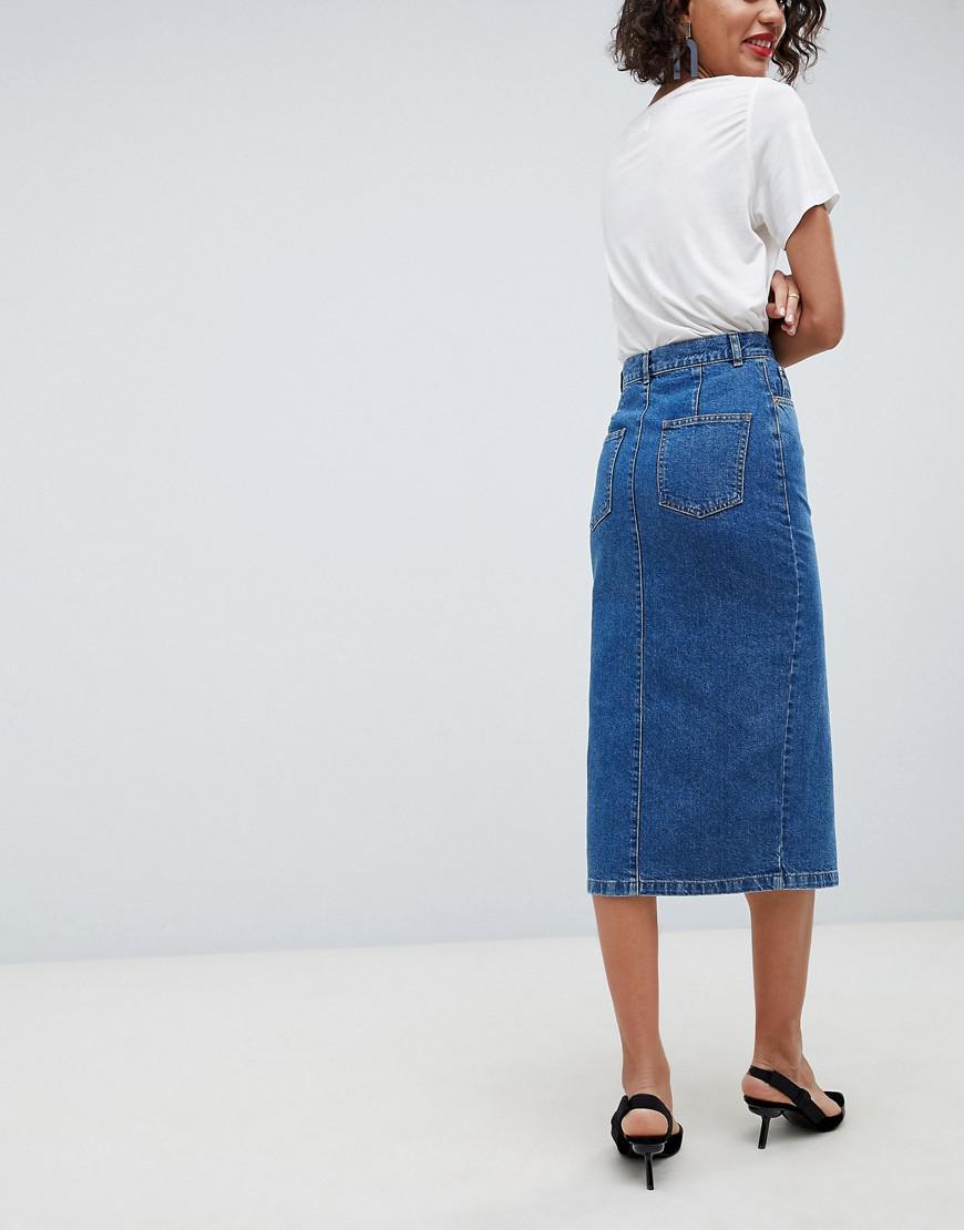 171c47c8ce9 Asos Denim Midi Pencil Skirt In Midwash Blue