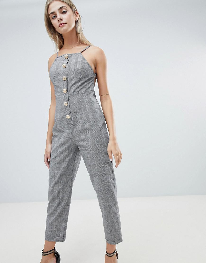 3a6f93125c5c Prettylittlething Button Front Tailored Jumpsuit In Check in Gray - Lyst