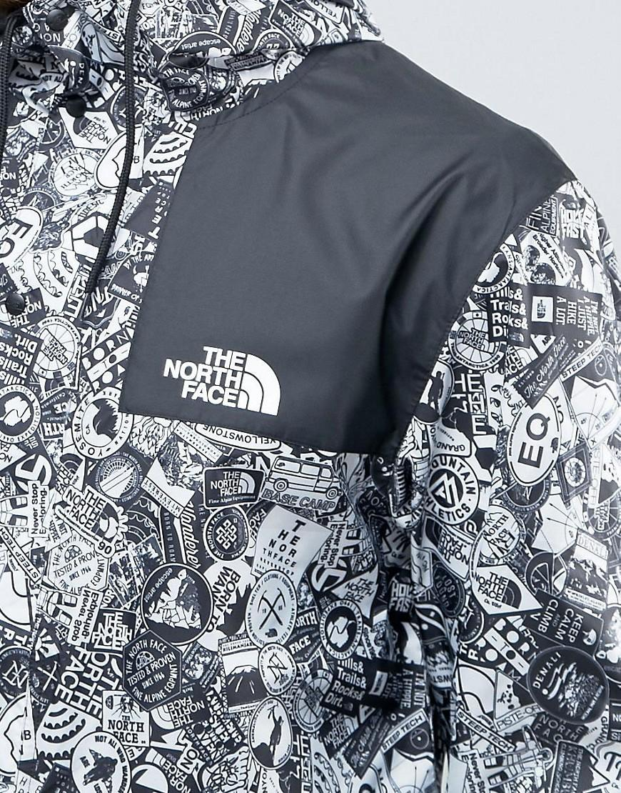 The North Face Synthetic 1985 Mountain Jacket Hooded In White Stickerbomb Print in Navy (Blue) for Men