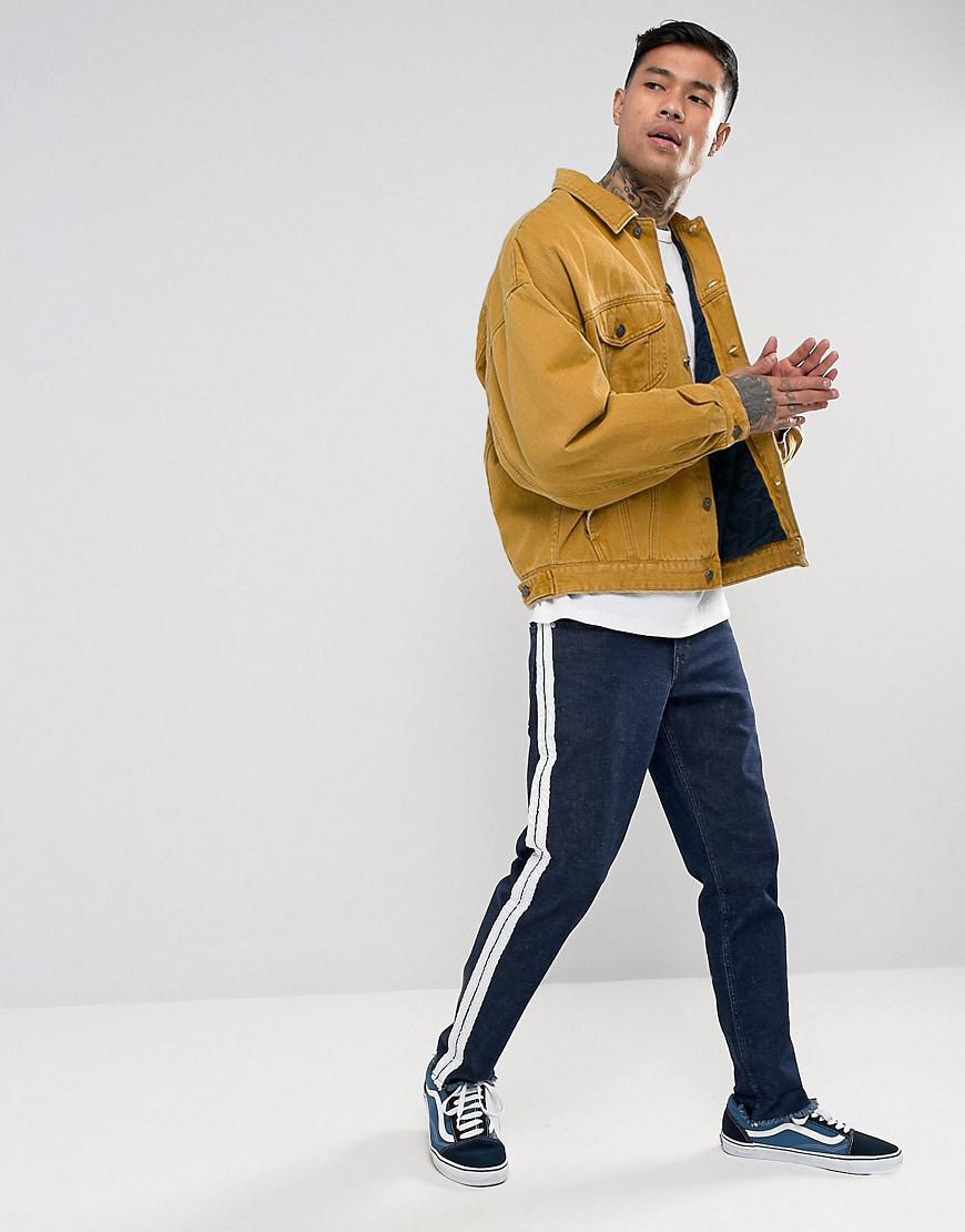 Lyst Asos Oversized Denim Jacket With Padding In Mustard In Orange