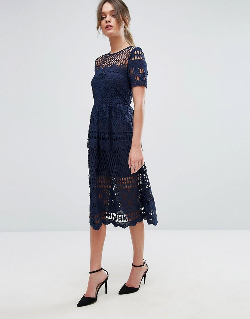 Boohoo Corded Lace Paneled Skater Dress In Navy Blue Lyst