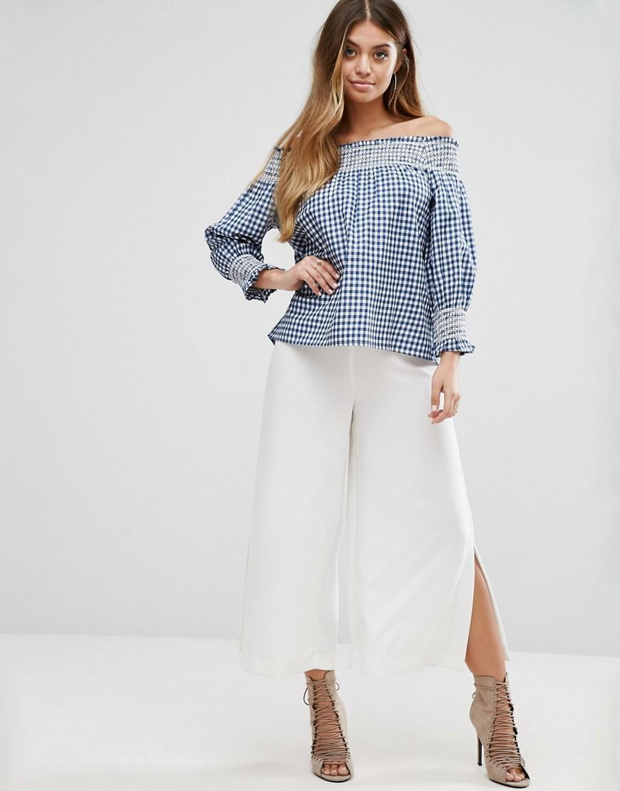Boohoo Synthetic Gingham Bardot Top in Blue
