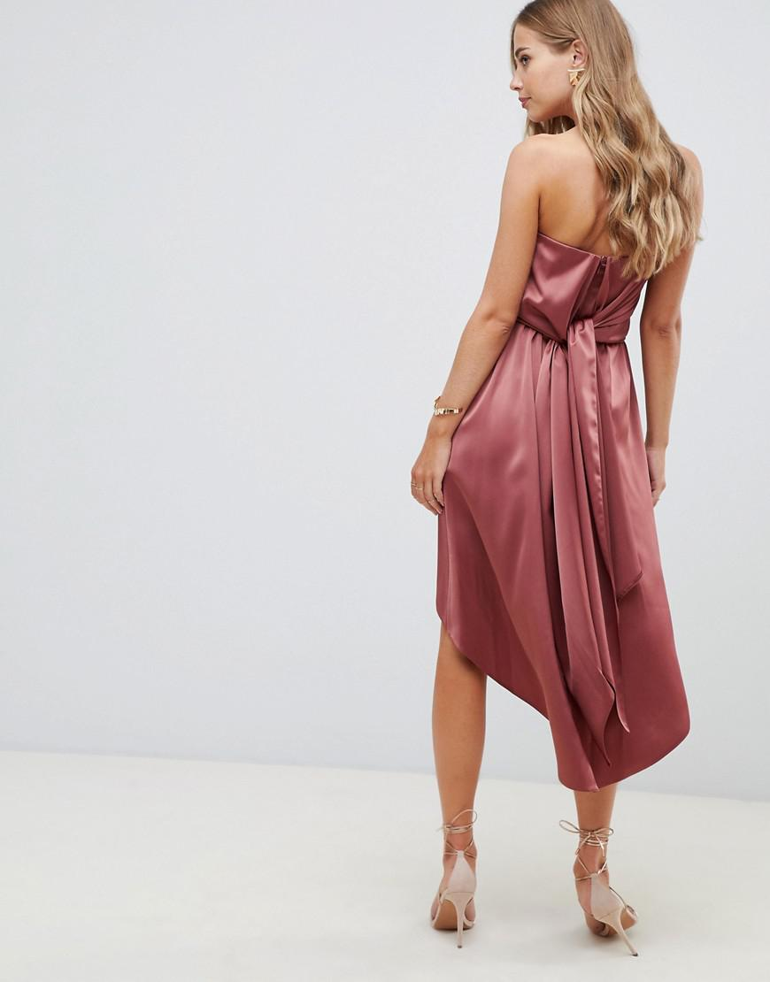e1a8b967cfa7 Lyst - ASOS Midi Bandeau Satin Dress With Knot Back Detail in Pink