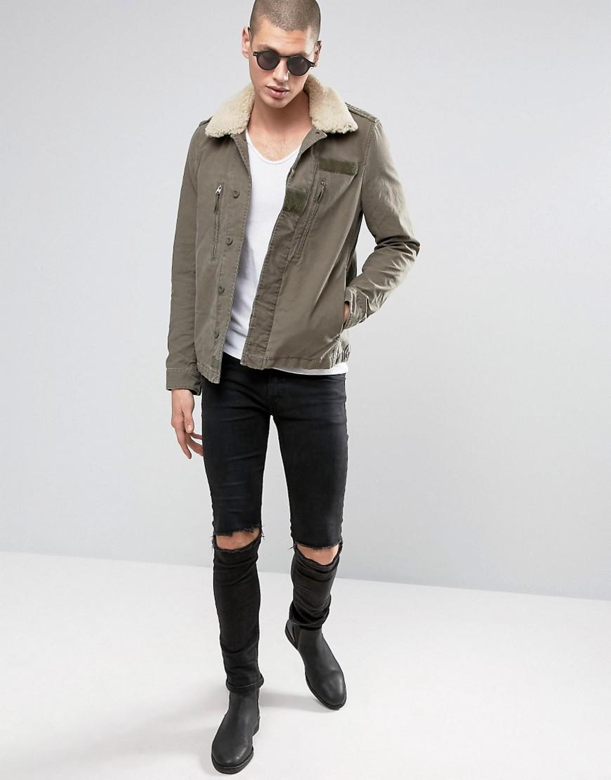AllSaints Cotton Jacket With Shearling Collar in Green for Men