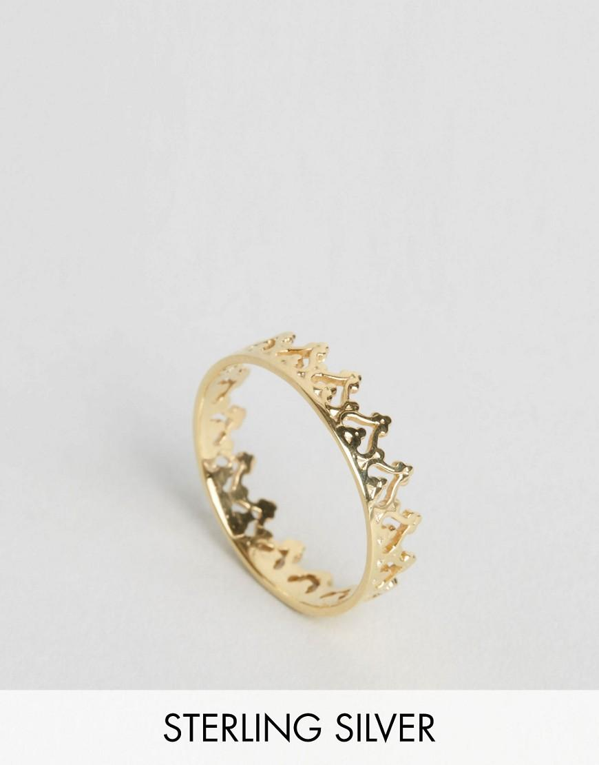 asos gold plated sterling silver crown ring in