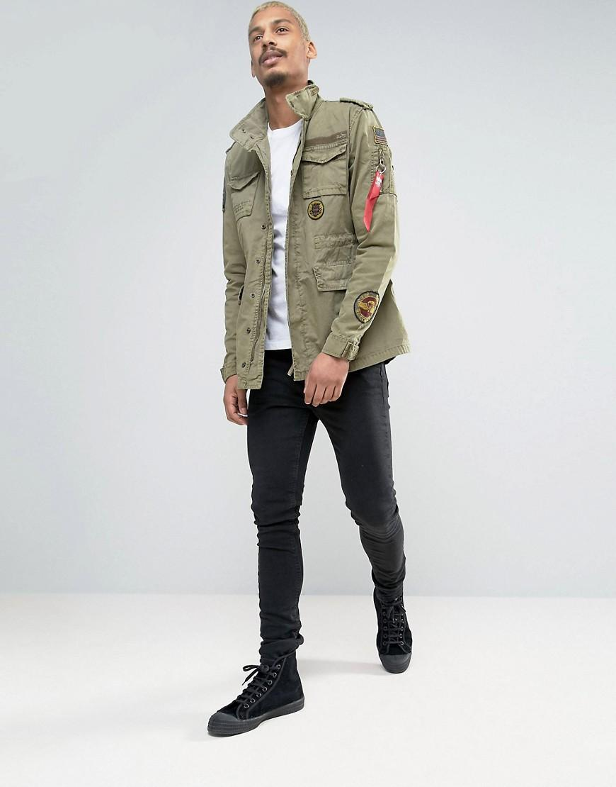 lyst alpha industries m65 field jacket with patches in. Black Bedroom Furniture Sets. Home Design Ideas