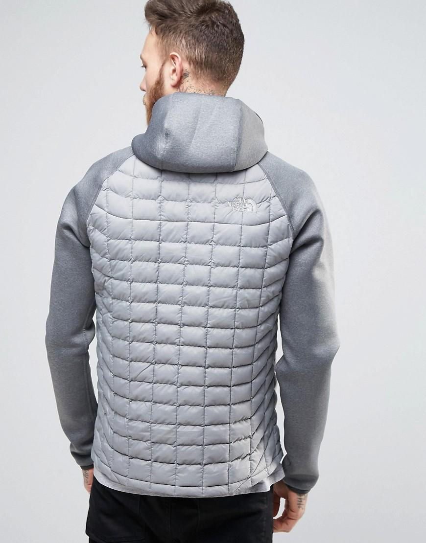 The North Face Upholder Thermoball Jacket Hooded Quilt/neoprene Hybrid In Grey in Grey for Men