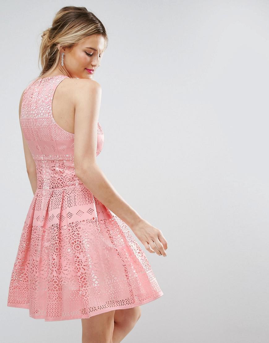 Lyst - Asos Salon Laser Cut Mini Prom Dress in Pink