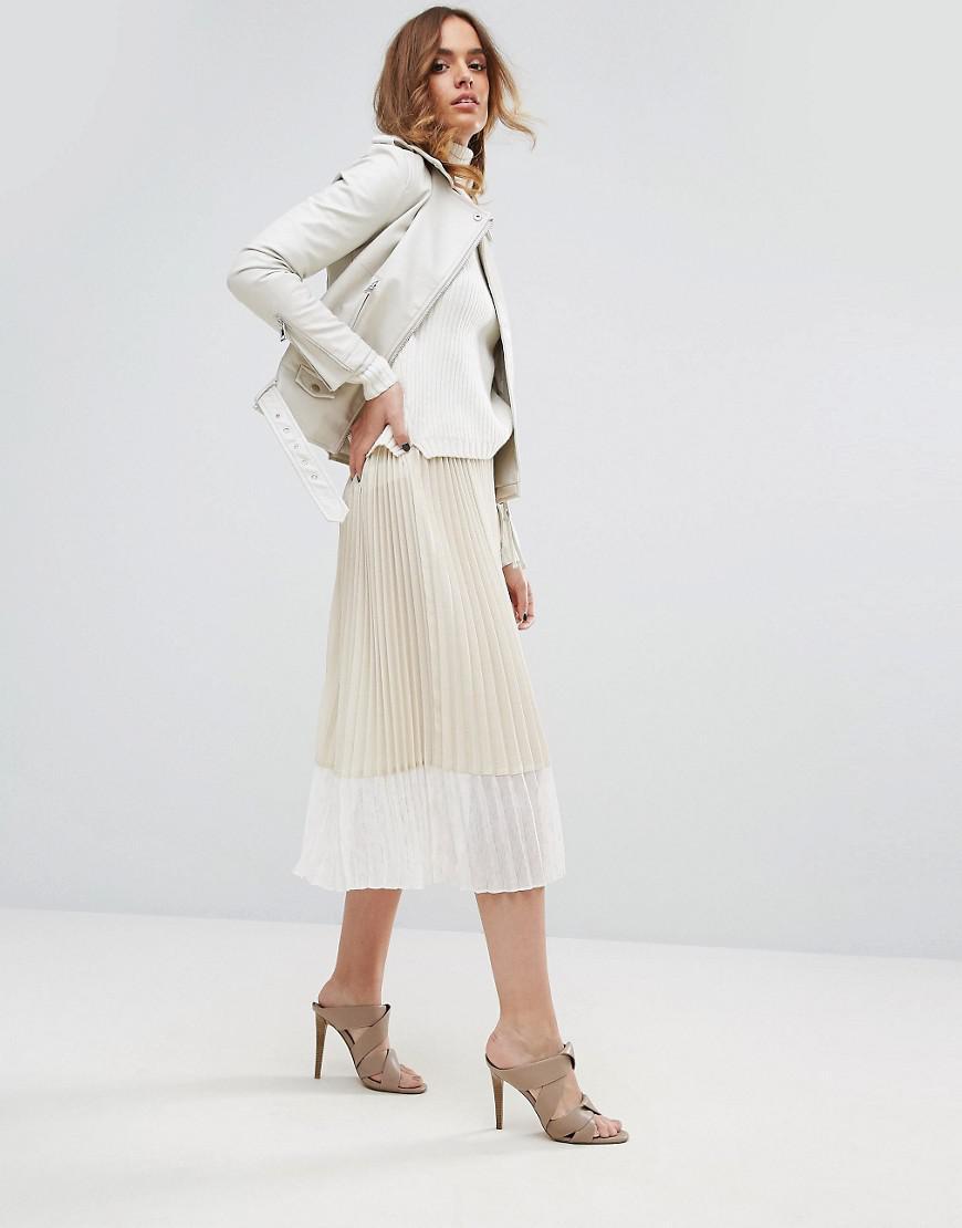 e52bb429c Sisley Pleated Midi Skirt in Natural - Lyst