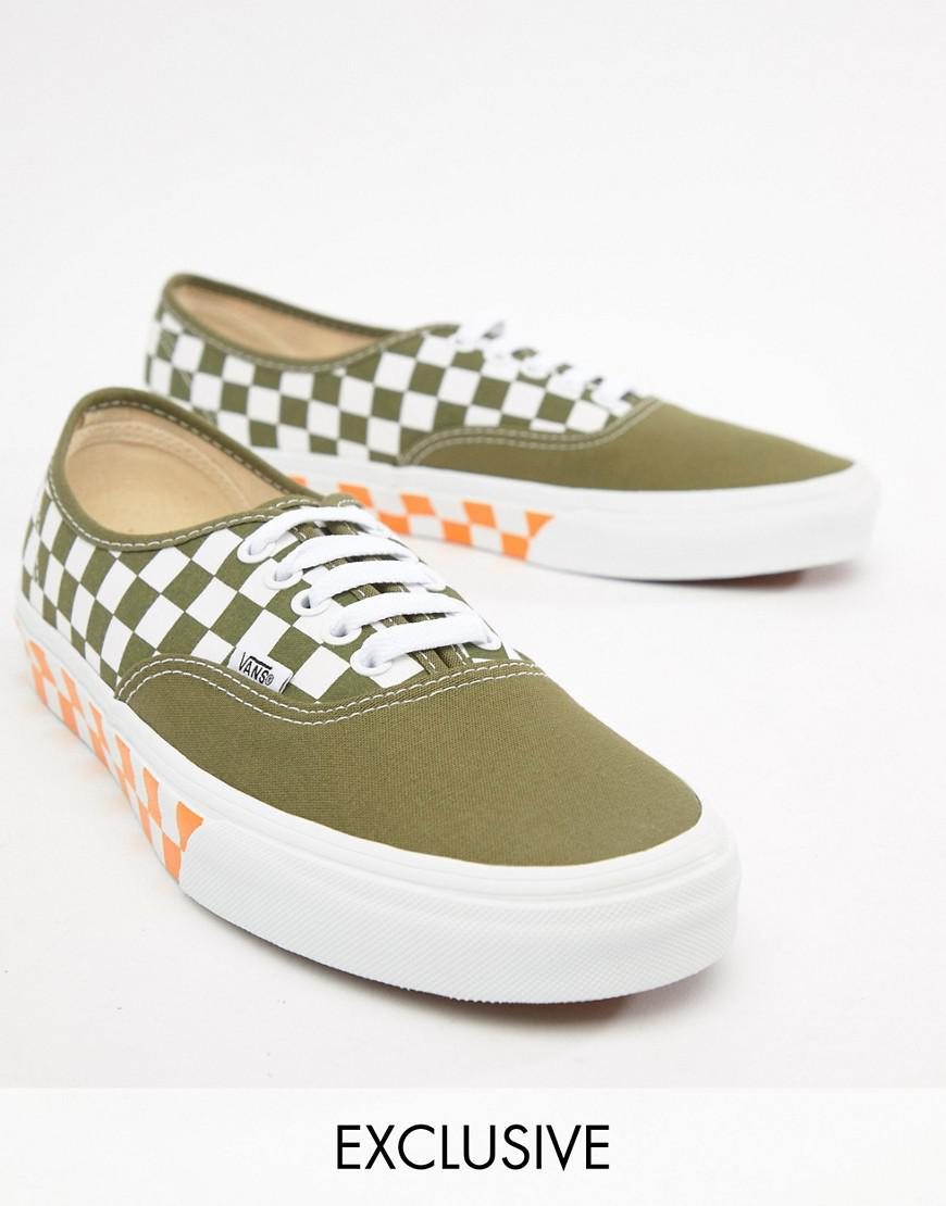 d9f2c49a82a Vans Authentic Checkerboard Plimsolls In Green Exclusive At Asos in Pink  for Men - Lyst