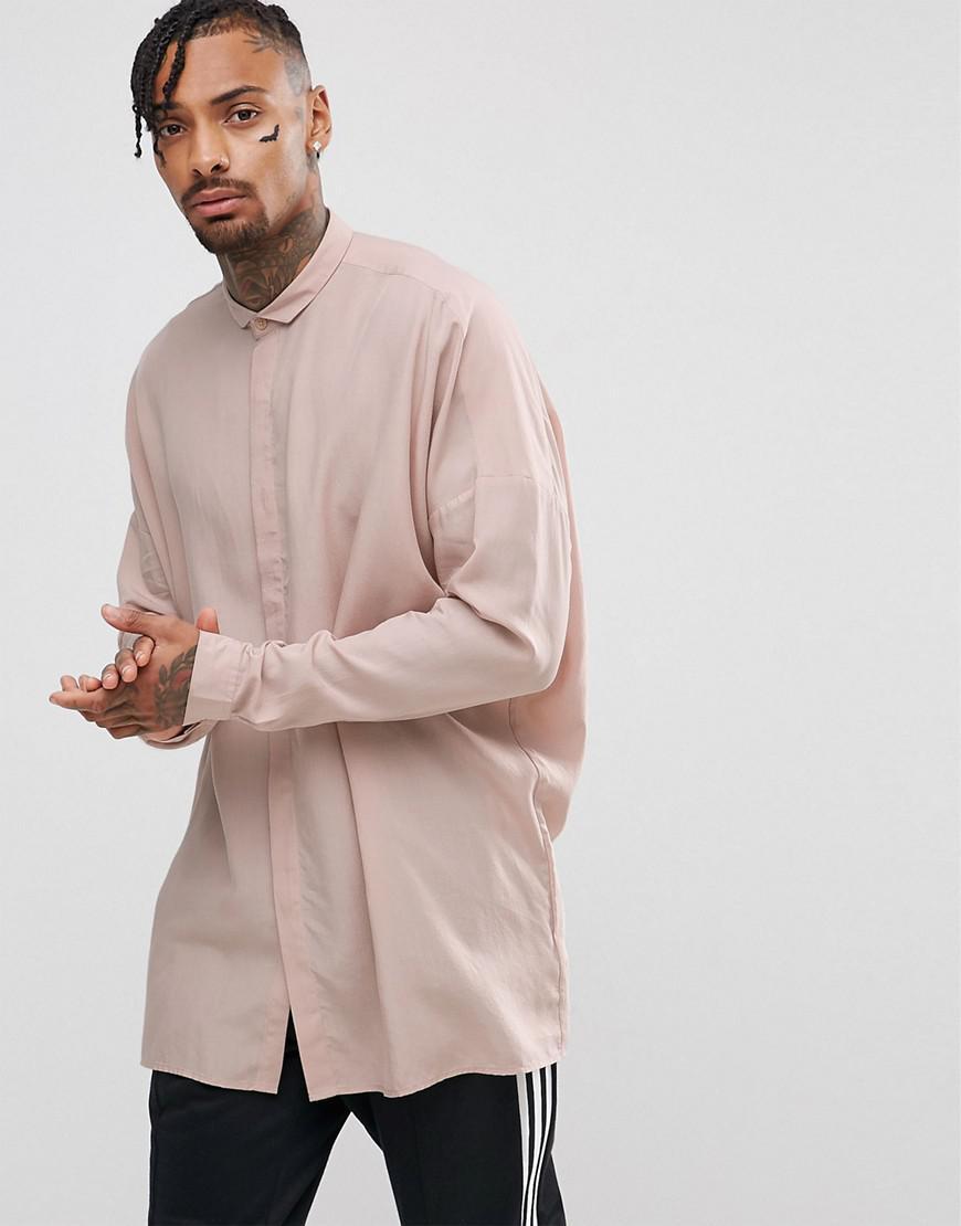 ASOS. Men's Oversized Viscose Shirt With Drop Shoulder In Pink