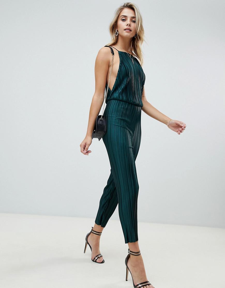4ab398587fcc PrettyLittleThing Open Back Culotte Jumpsuit In Green in Green - Lyst