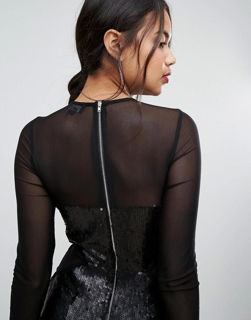 Discount Aaa Sequin Panelled Cut Out Dress - Black Prettylittlething For Sale Wholesale Price Free Shipping Sale M8mcatg