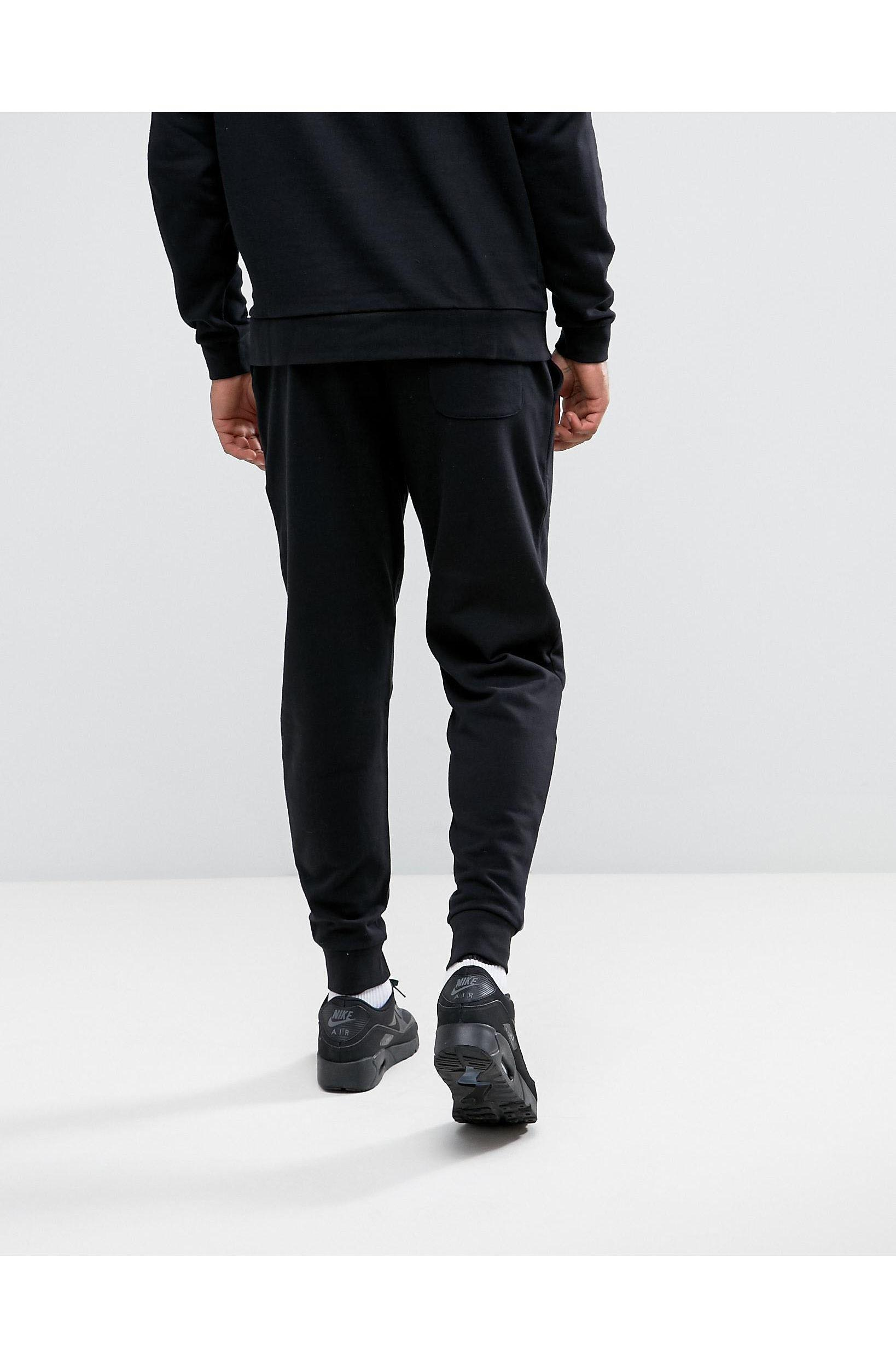 ASOS Cotton Skinny Joggers In With Zips in Black for Men