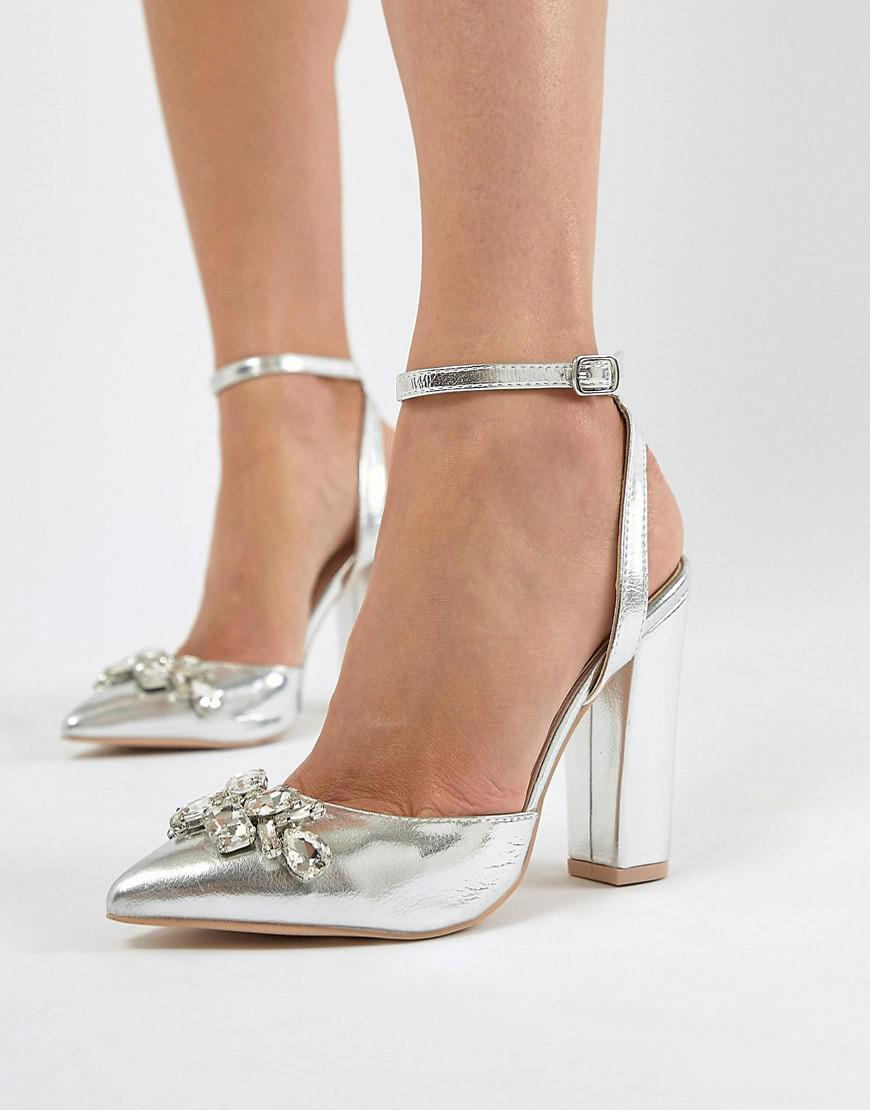 ab6ca0943c92 True Decadence Silver Embellished Block Heel Shoes in Metallic - Lyst