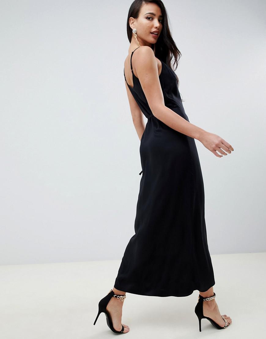 9ea829c704 Lyst - ASOS Asos Design Tall Cami Wrap Maxi Dress in Black