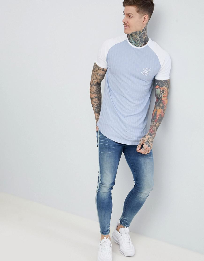 1cb7e91e Lyst - SIKSILK Ribbed Curved Hem T-shirt In Pastle Blue in Blue for Men