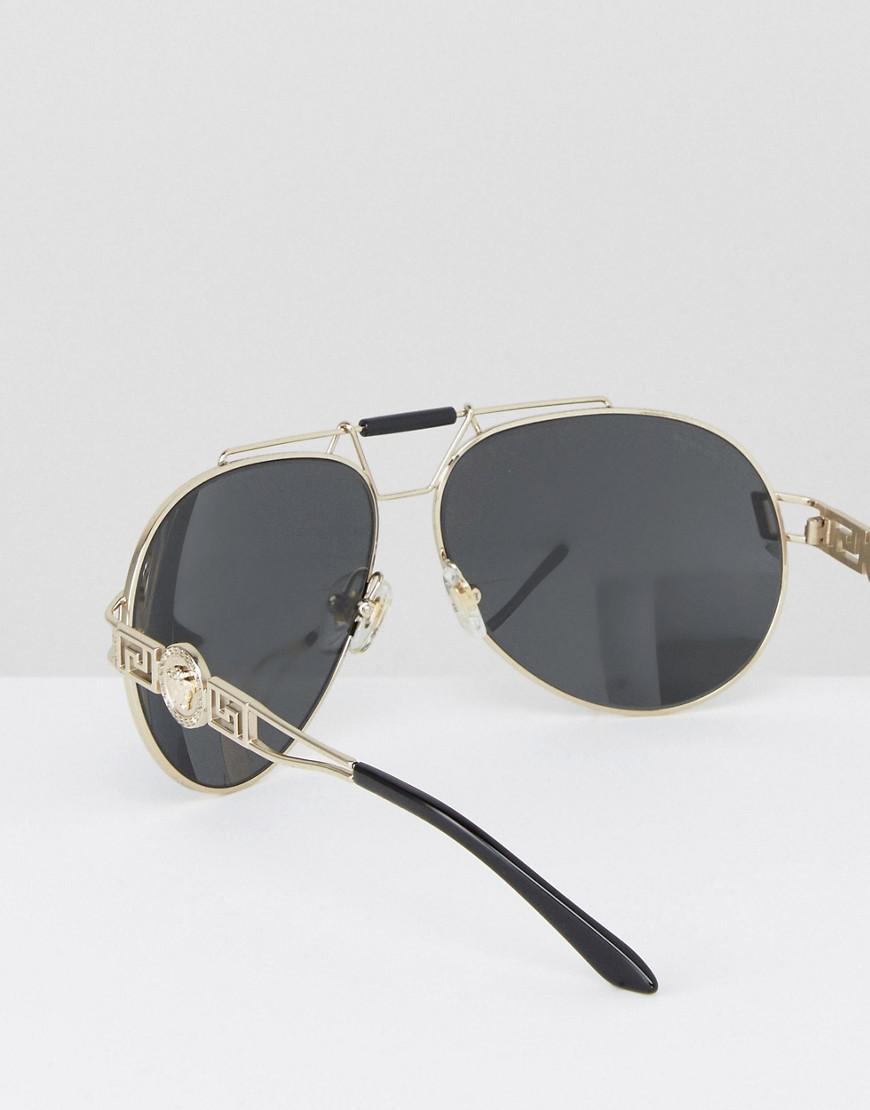 3dc91815b3f7 Versace Aviator Sunglasses With Side Medusa in Black for Men - Lyst