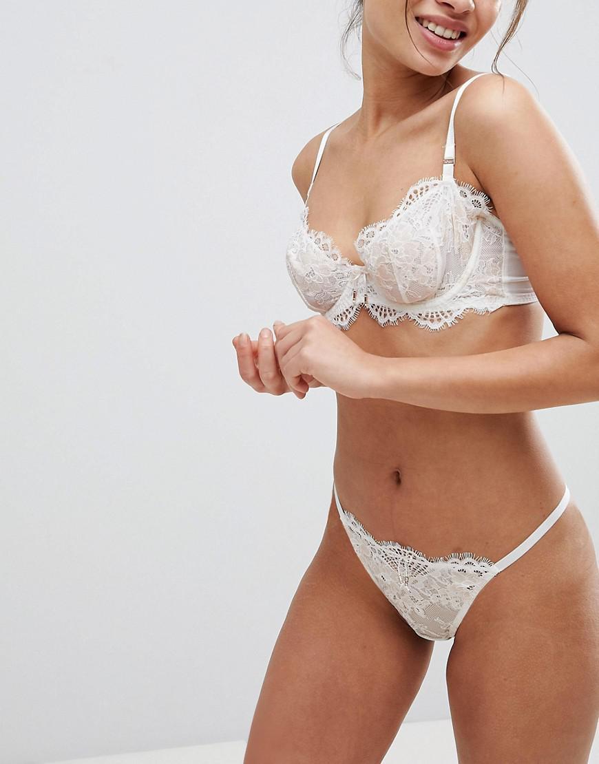 8a4e3e00f2 Lyst - Ultimo Bridal Premium Eyelash Lace Thong in White