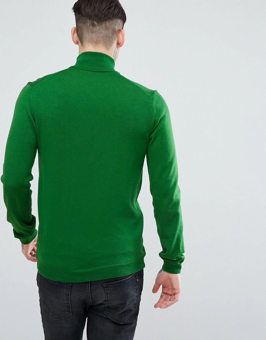 ASOS Denim Muscle Fit Merino Roll Neck Jumper In Green for Men