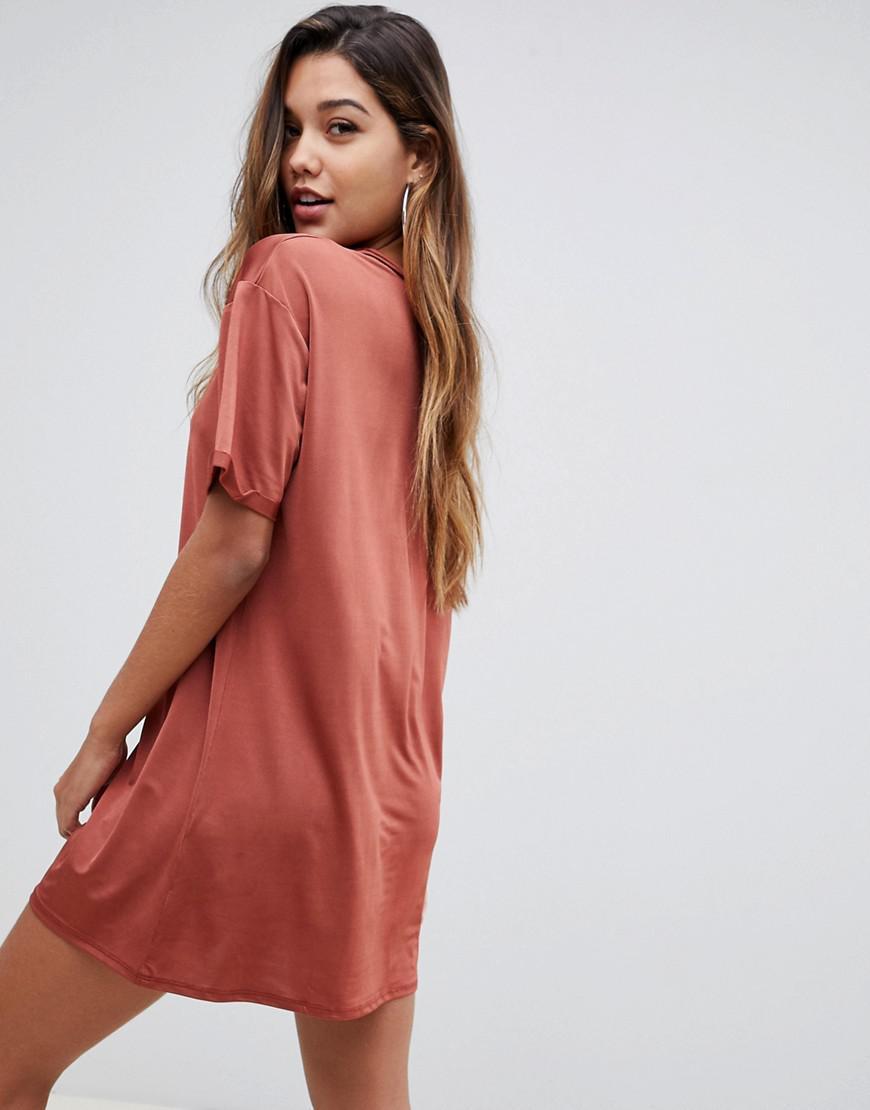 de2251d43c52 ASOS Slinky Ultimate Rolled Sleeve T-shirt Dress in Orange - Lyst