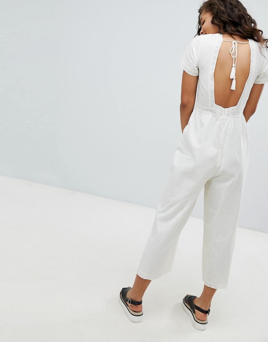 5388f38cba5b ASOS Asos Design Tall Cotton Embroidered Jumpsuit With Tassel - Lyst