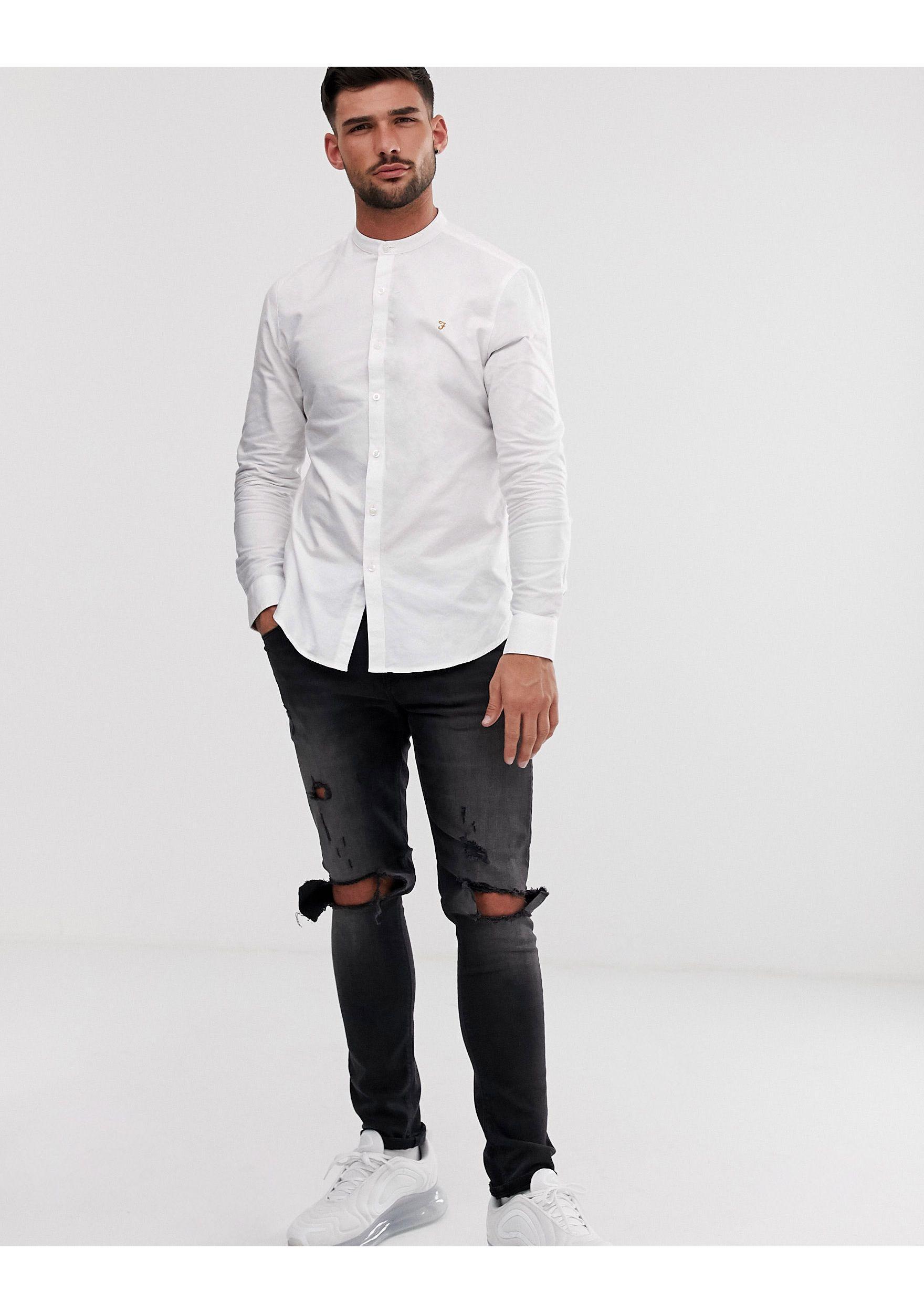 Farah Katoen Brewer - Slim-fit Oxford Overhemd Zonder Kraag in het Wit voor heren