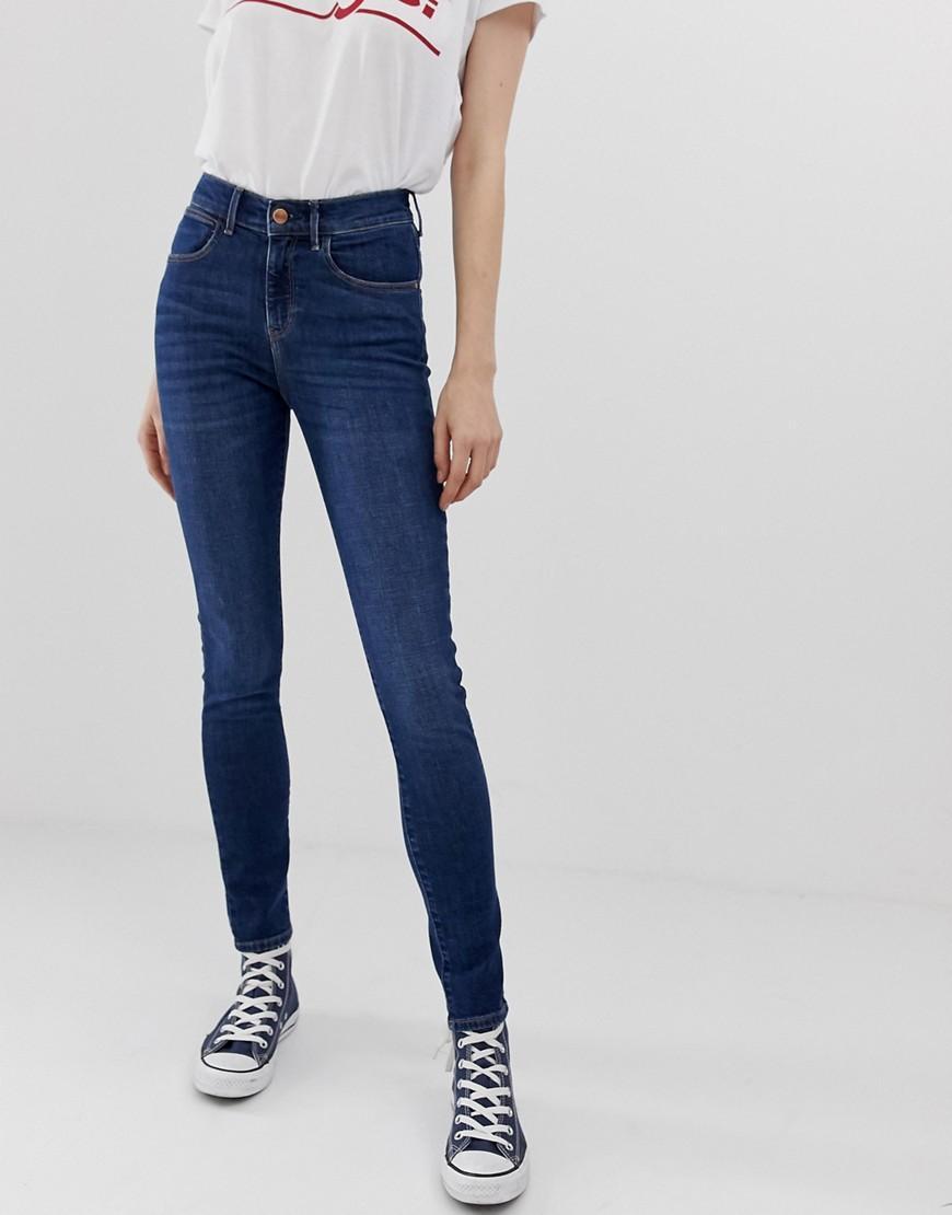 276dcb5c Wrangler High Rise Skinny Jeans in Blue - Lyst