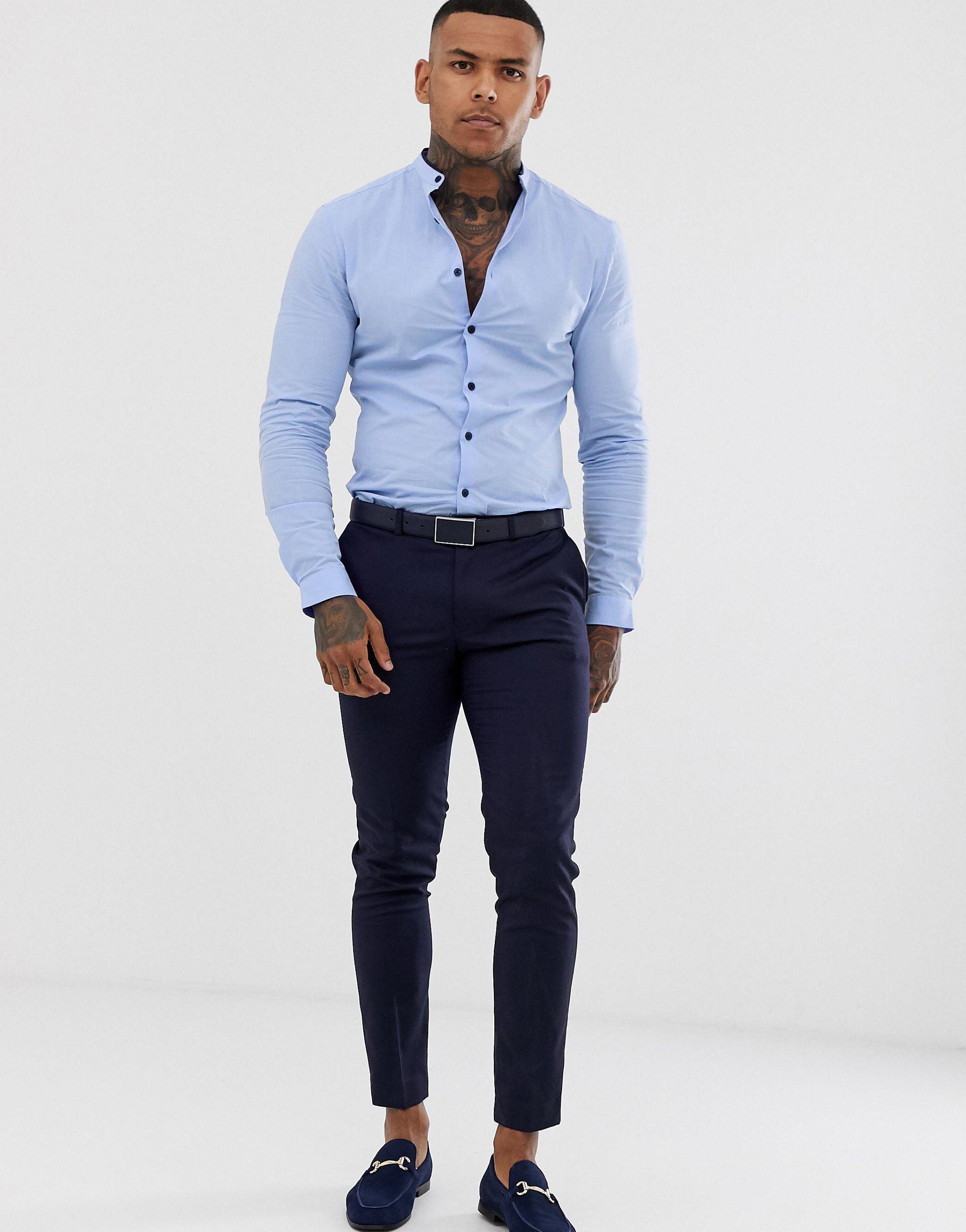 ASOS Skinny-fit Net Overhemd Zonder Kraag En Met Bies in het Blauw voor heren