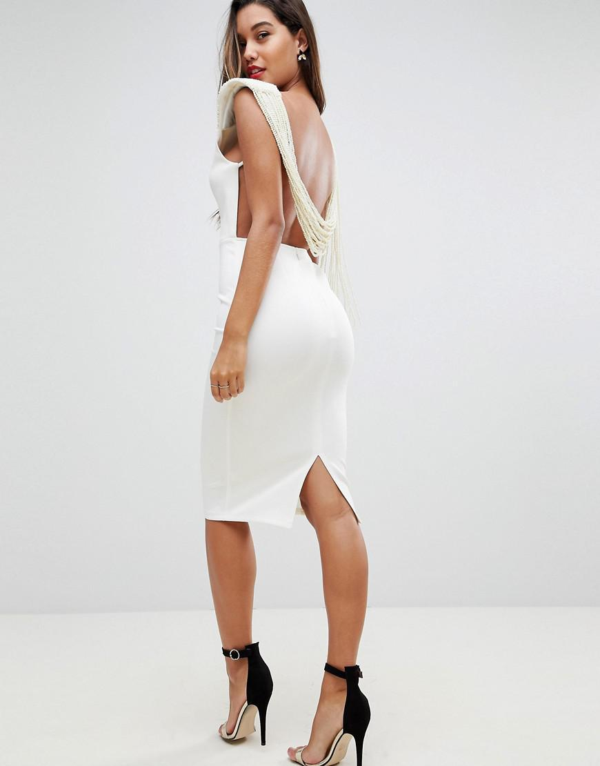 Lyst Asos Deep Plunge Pearl Back Midi Dress In White