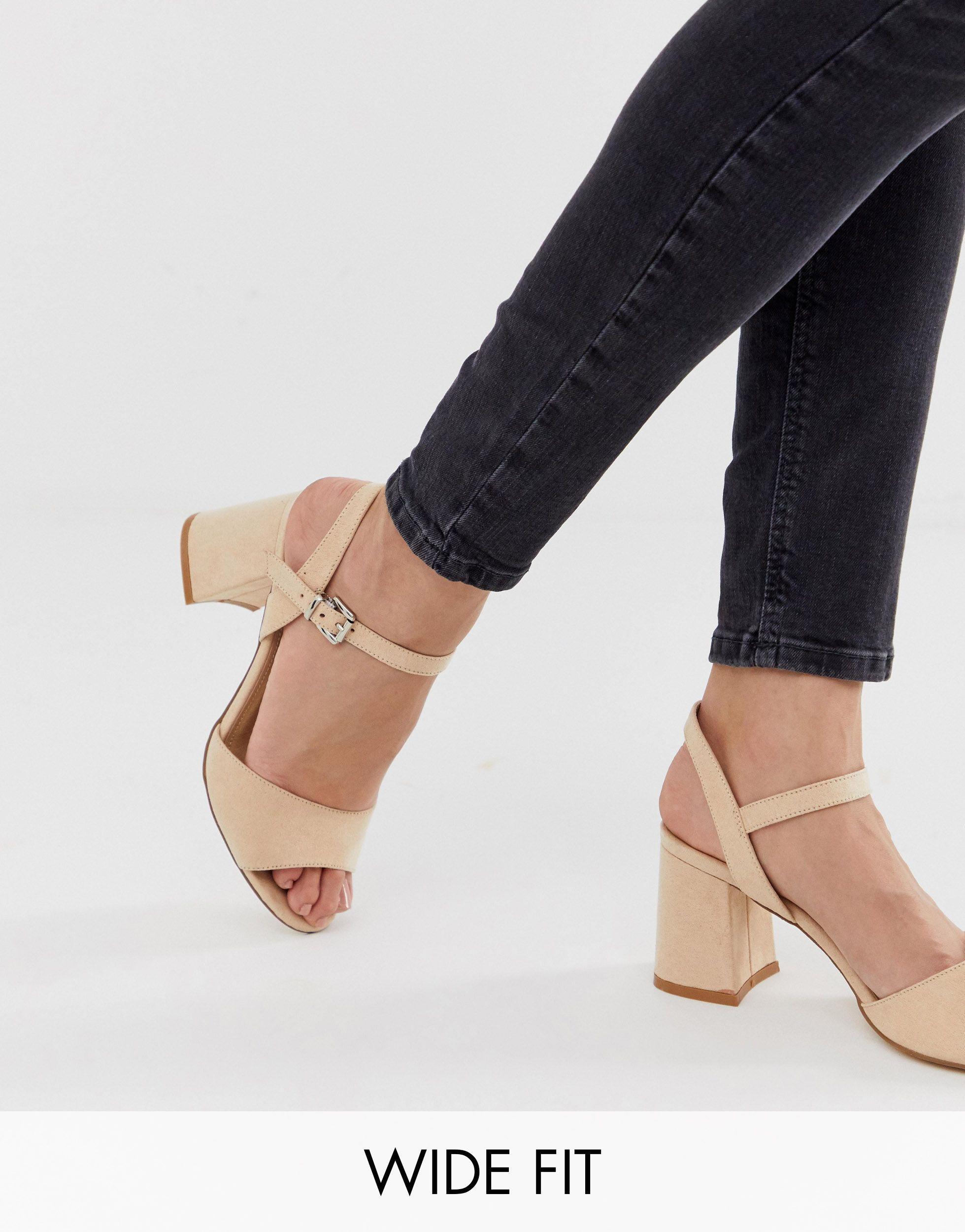 Wide Fit Block Heel Sandals in Beige