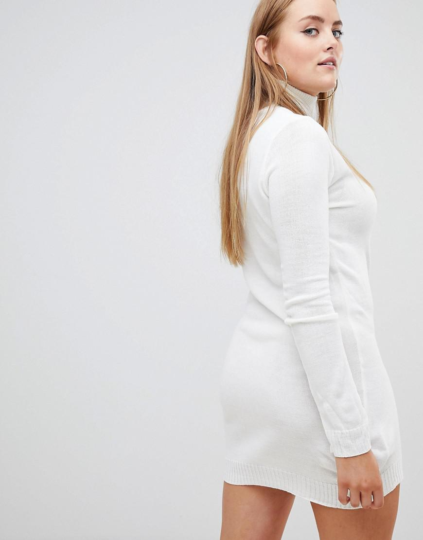 Lyst - Boohoo Roll Neck Sweater Dress in White a07d9d15f