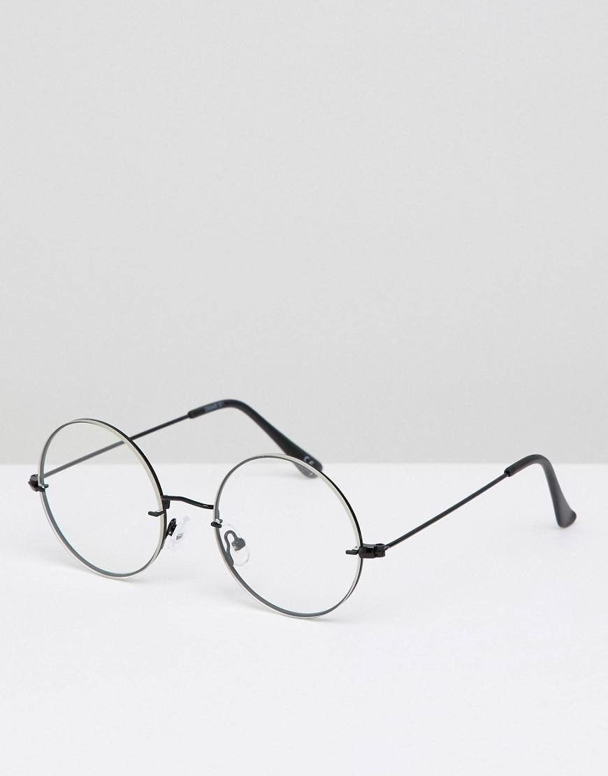 e63f37c412 Lyst - ASOS Round Glasses In Black With Laid On Clear Lens in Black ...