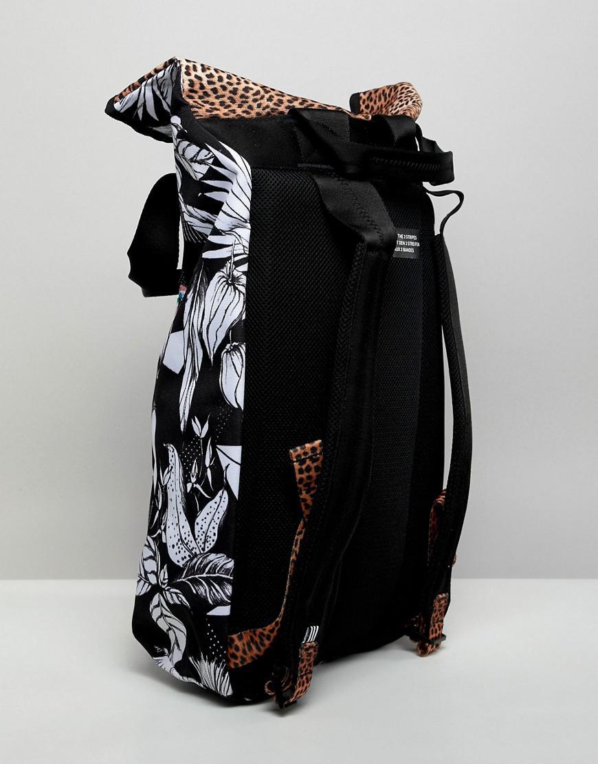 3806550525 Lyst - adidas Originals Roll Top Printed Backpack in Black
