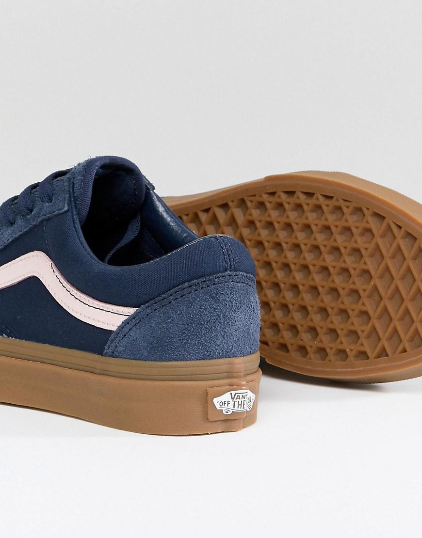 dc183813cf Vans Old Skool Unisex Trainers In Blue Fuzzy Suede With Gum Sole in ...
