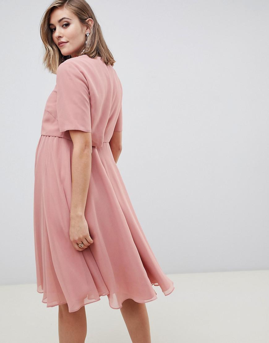 f5839d36c2816 ASOS Asos Design Maternity Midi Dress With 3d Embellished Neckline in Pink  - Lyst