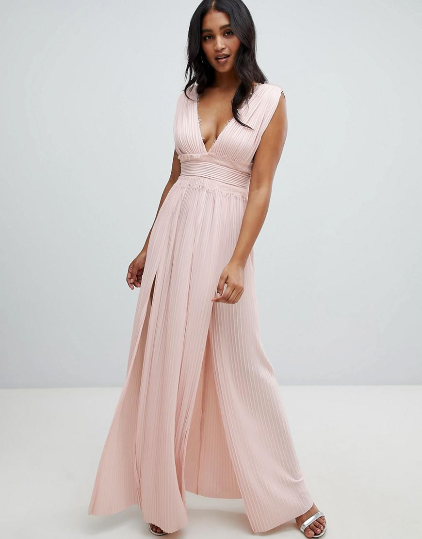 977c30997ed Asos Tall Pleated Dobby And Lace Top Long Sleeve Maxi Dress - Data ...